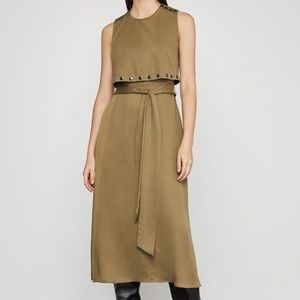 BCBG Max Azria, Studded Overlay Midi Dress, Brown